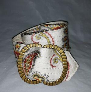 J Crew White Gold Paisley Print Silk Belt